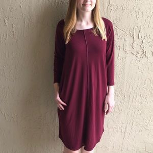 Women's Deep Burgundy Knit Dress.